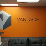 The new orange wall at vantage, bold and beautiful!